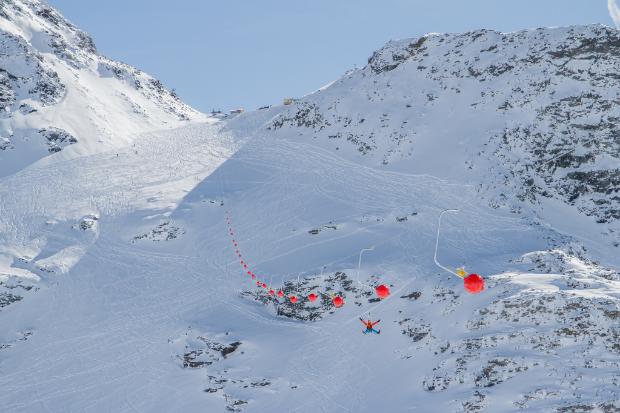 Tyrolienne de Val Thorens en hiver