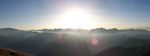 Coucher de soleil sur les Arves