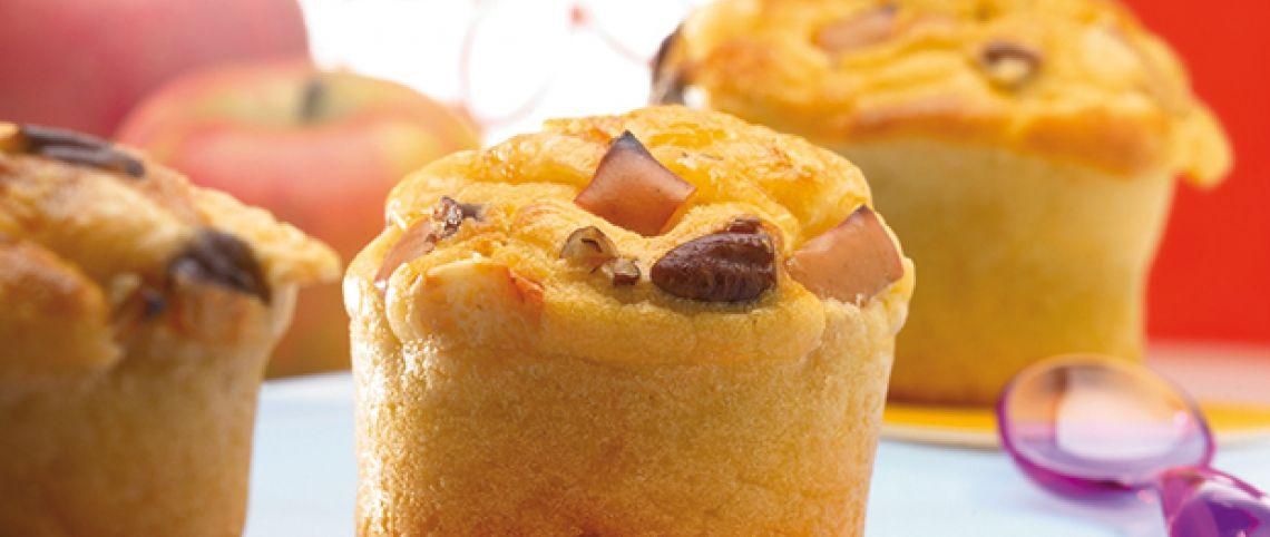 Muffins au Beaufort, noix et pomme